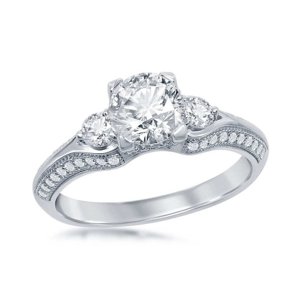 Sterling Silver Triple Setting Micro Pave Engagement Ring (59 stones)