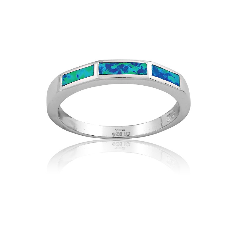 Sterling Silver 3 Rectangle Opal Ring