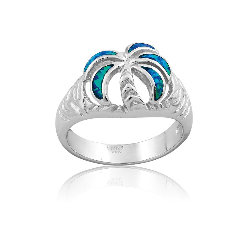 Sterling Silver Opal Palm Tree Ring