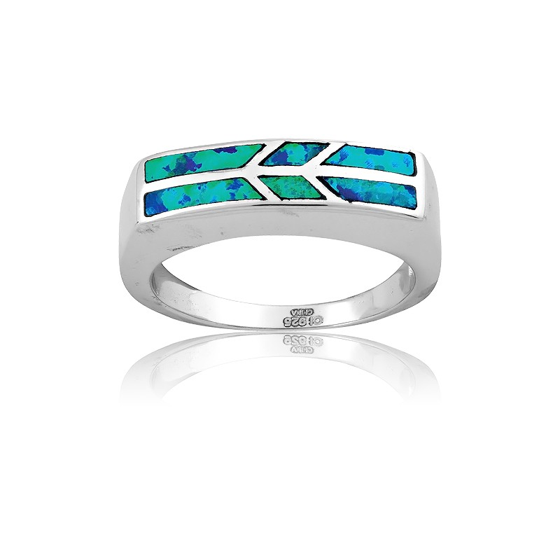 Sterling Silver Opal Flat Ring