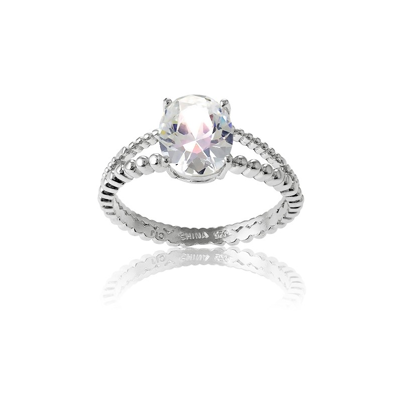 Sterling Silver Double Band Oval CZ Engagement Ring