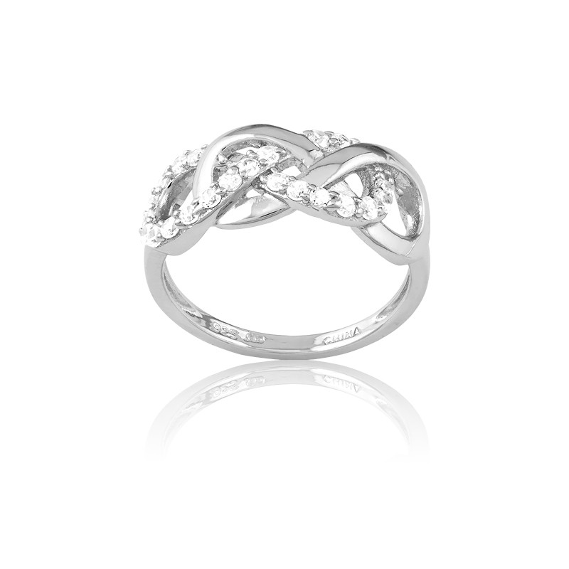 Sterling Silver Interlocking Shiny and CZ Infinity Ring