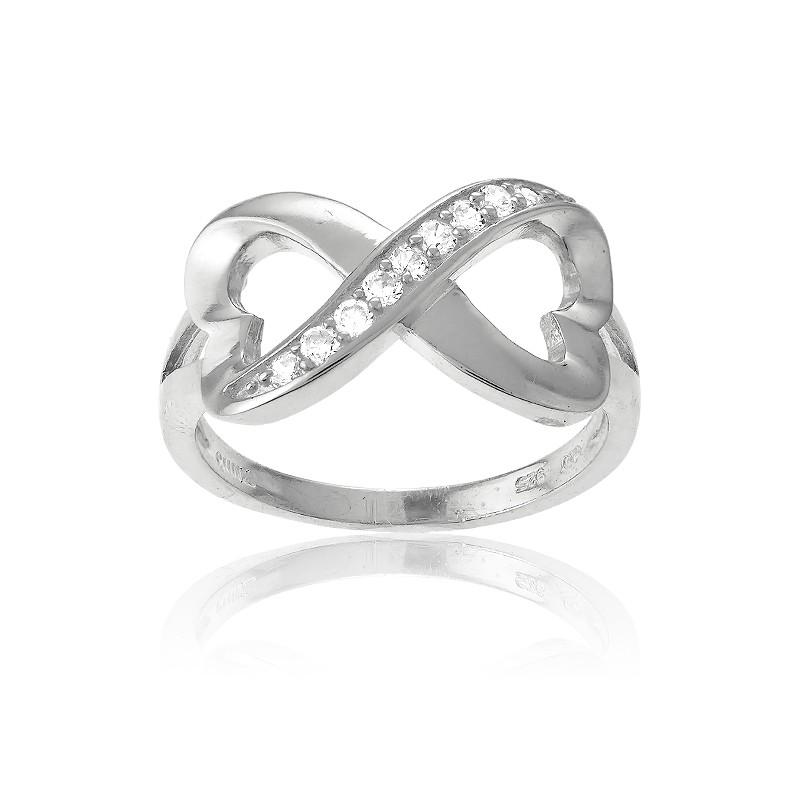 .5 Sterling Silver Half CZ Heart Infinity Ring