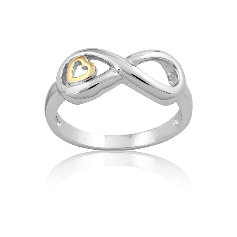 Sterling Silver Infinity With GP Heart Ring