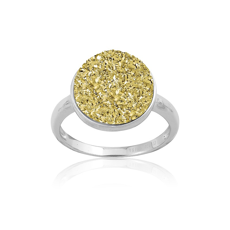 Sterling Silver Gold Round Druzy Ring