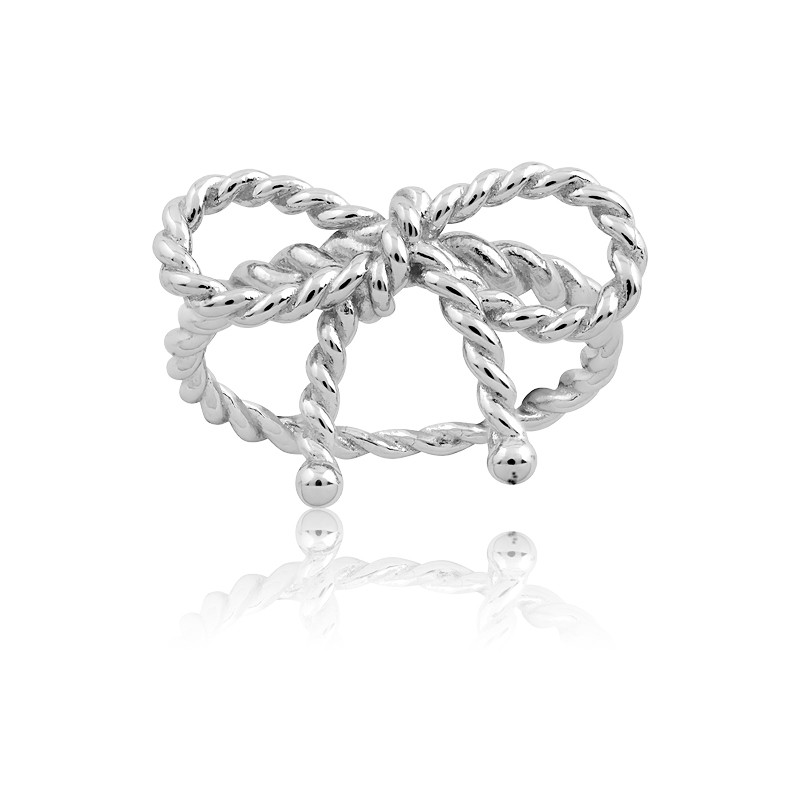 Sterling Silver Rope Design Bow Ring