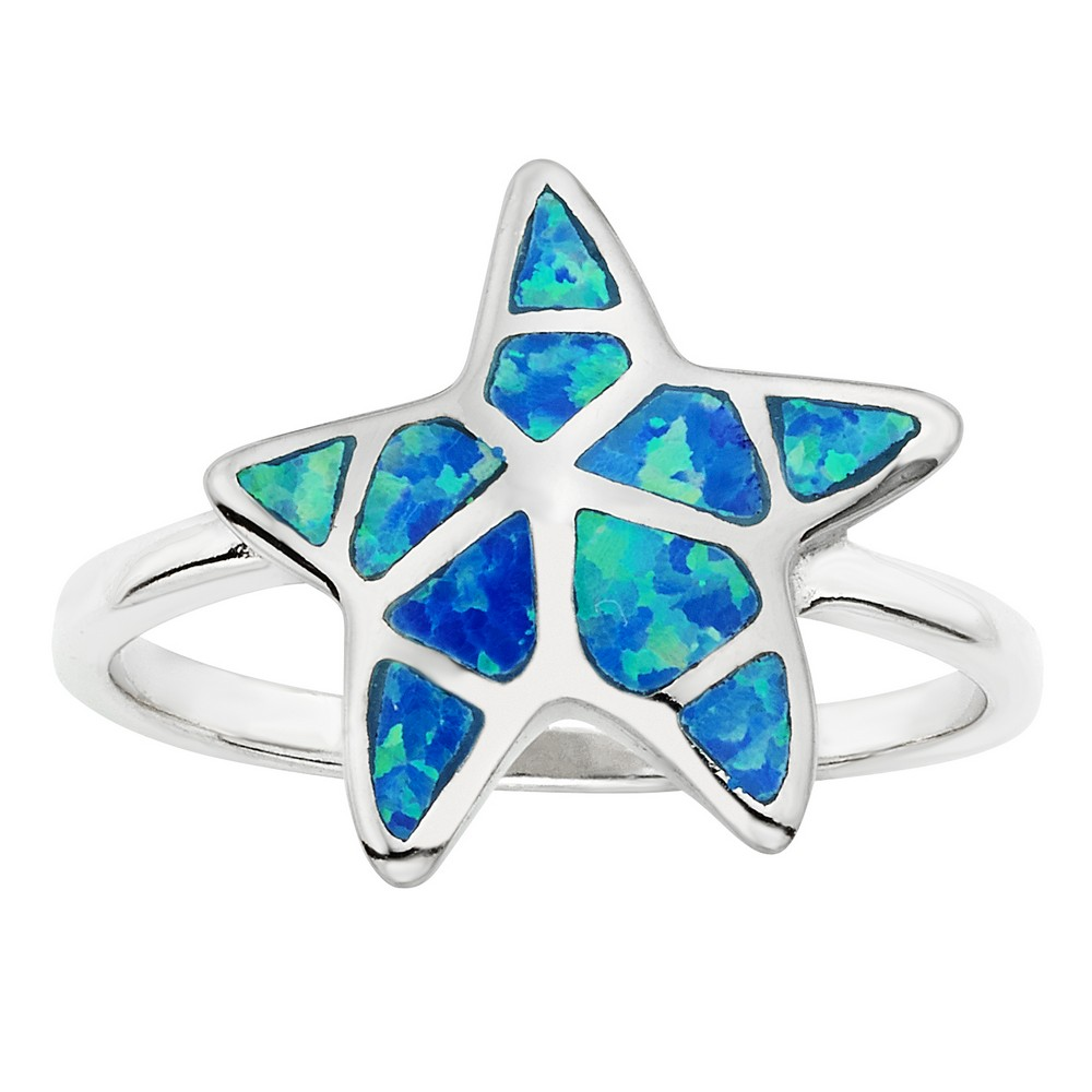 Sterling Silver Blue Inlay Opal Starfish Ring