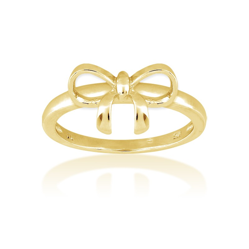 Sterling Silver Bow Ring - Gold Plated