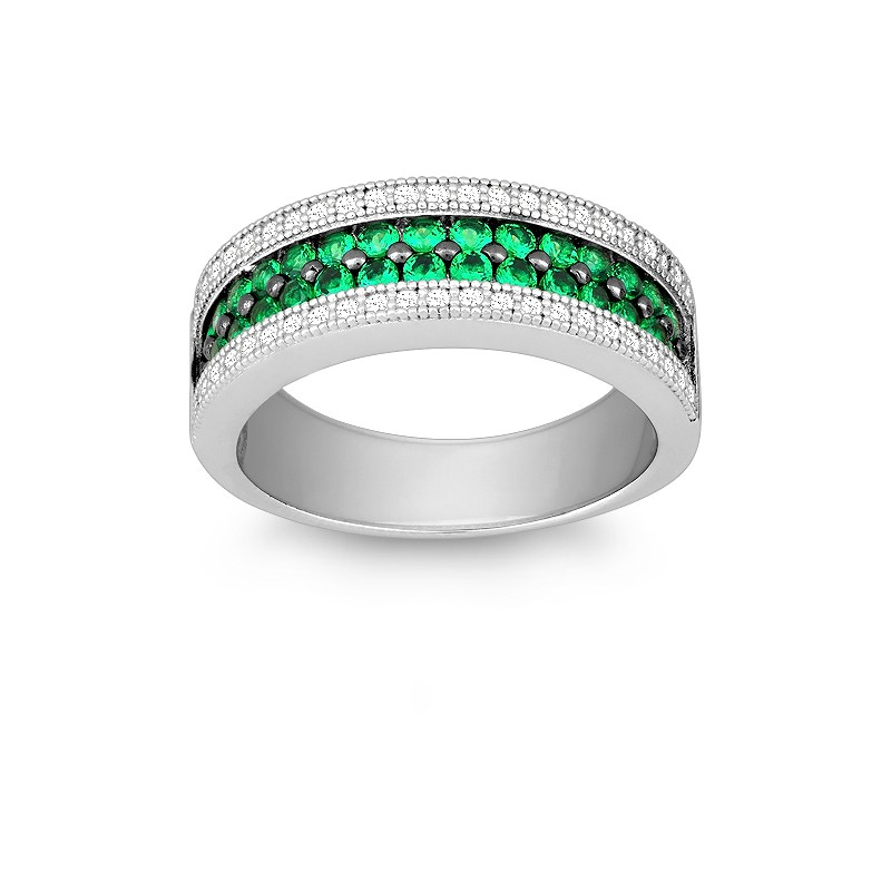 Sterling Silver Emerald and White CZ Micro Pave Ring