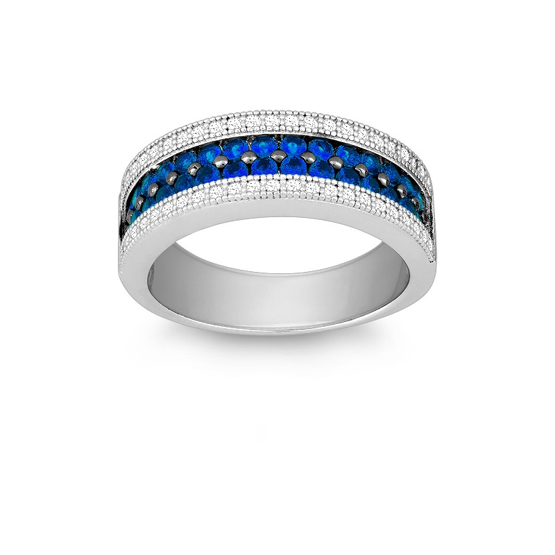 Sterling Silver Saphirre and White CZ Micro Pave Ring