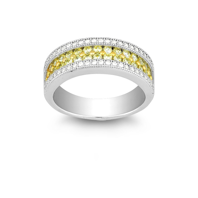 Sterling Silver Canary and White CZ Micro Pave Ring