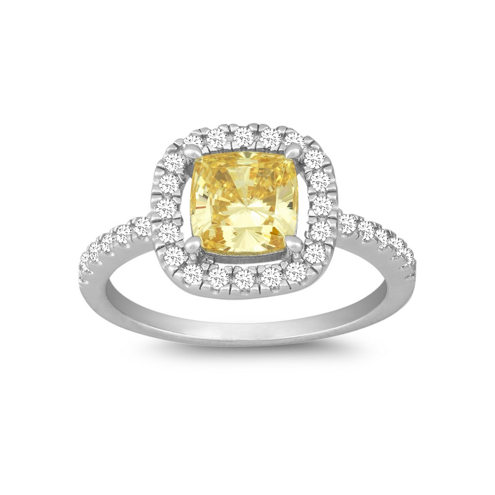 Sterling Silver Square Canary and White CZ Micro Pave Ring