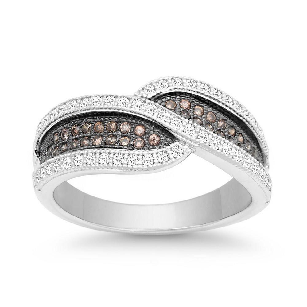 Sterling Silver Crossed Champagne and White CZ Micro Pave Ring