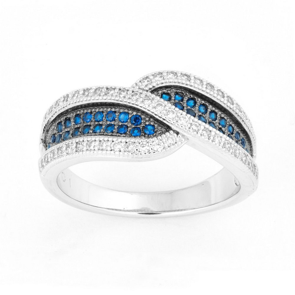 Sterling Silver Crossed Sapphire and White CZ Micro Pave Ring