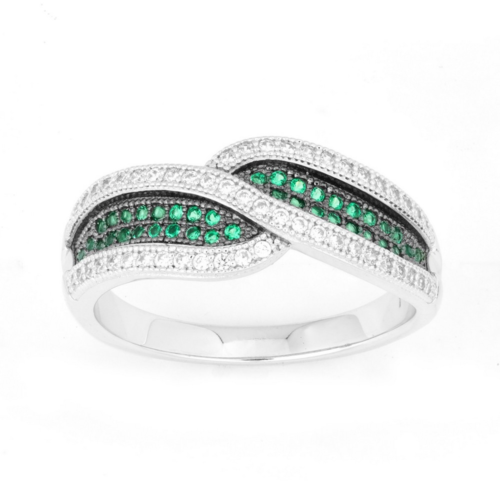 Sterling Silver Crossed Emerald and White CZ Micro Pave Ring