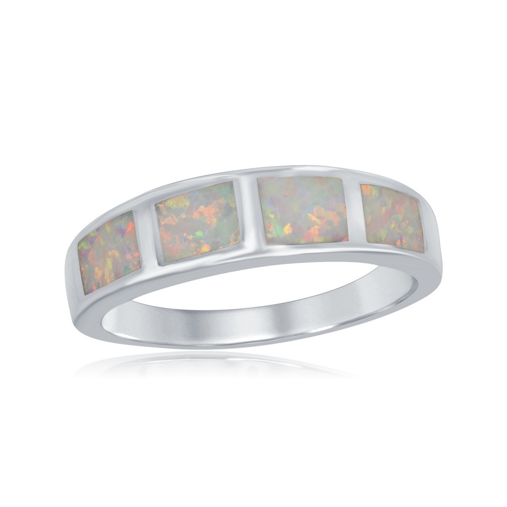 Sterling Silver Milky Inlay Opal Squares Ring
