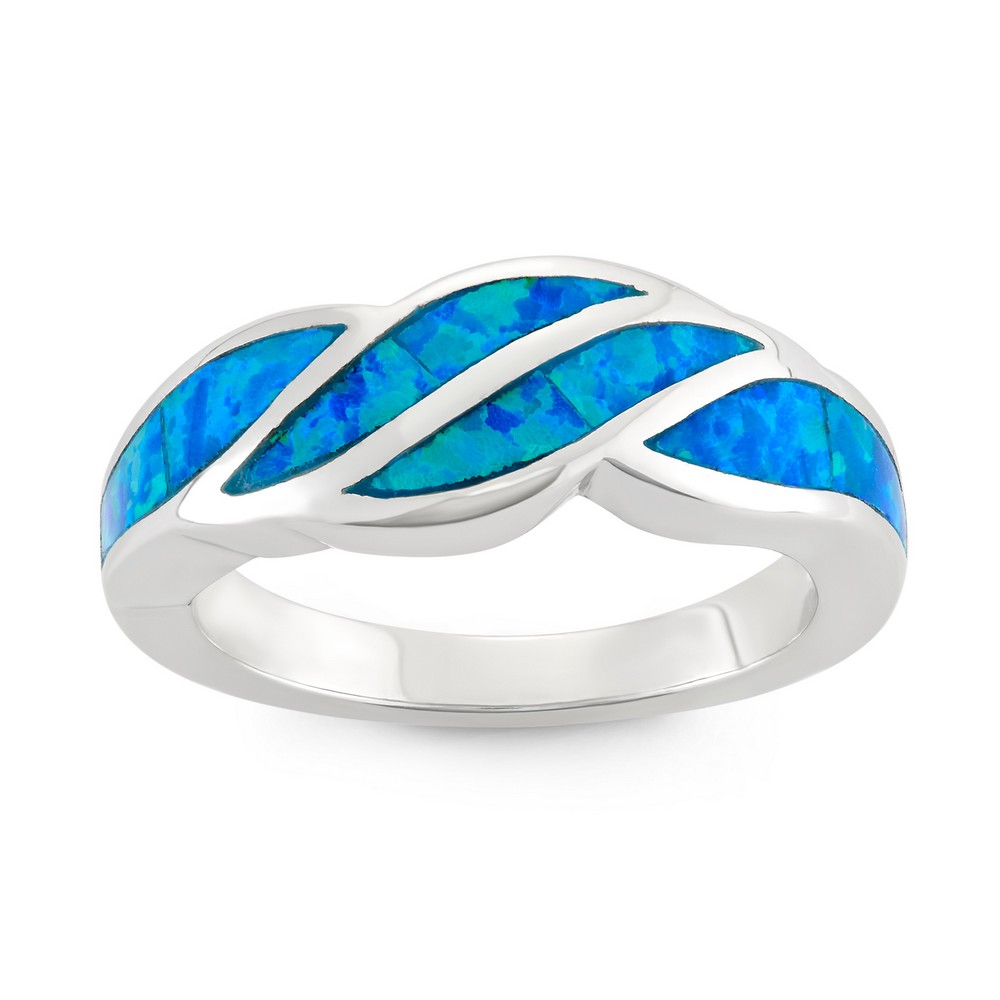 Sterling Silver Blue Inlay Opal Wave Design Ring
