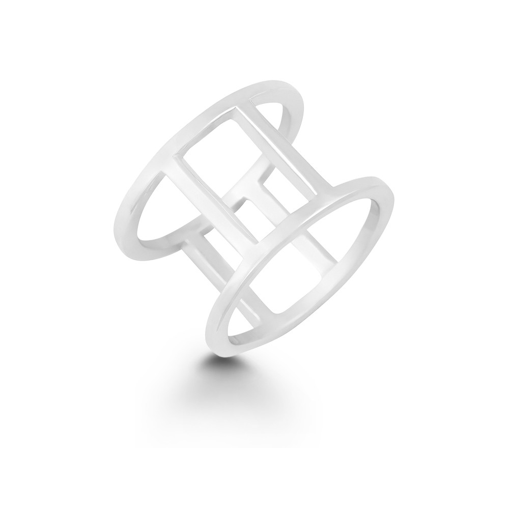 Sterling Silver Double Vertical Bars Ring