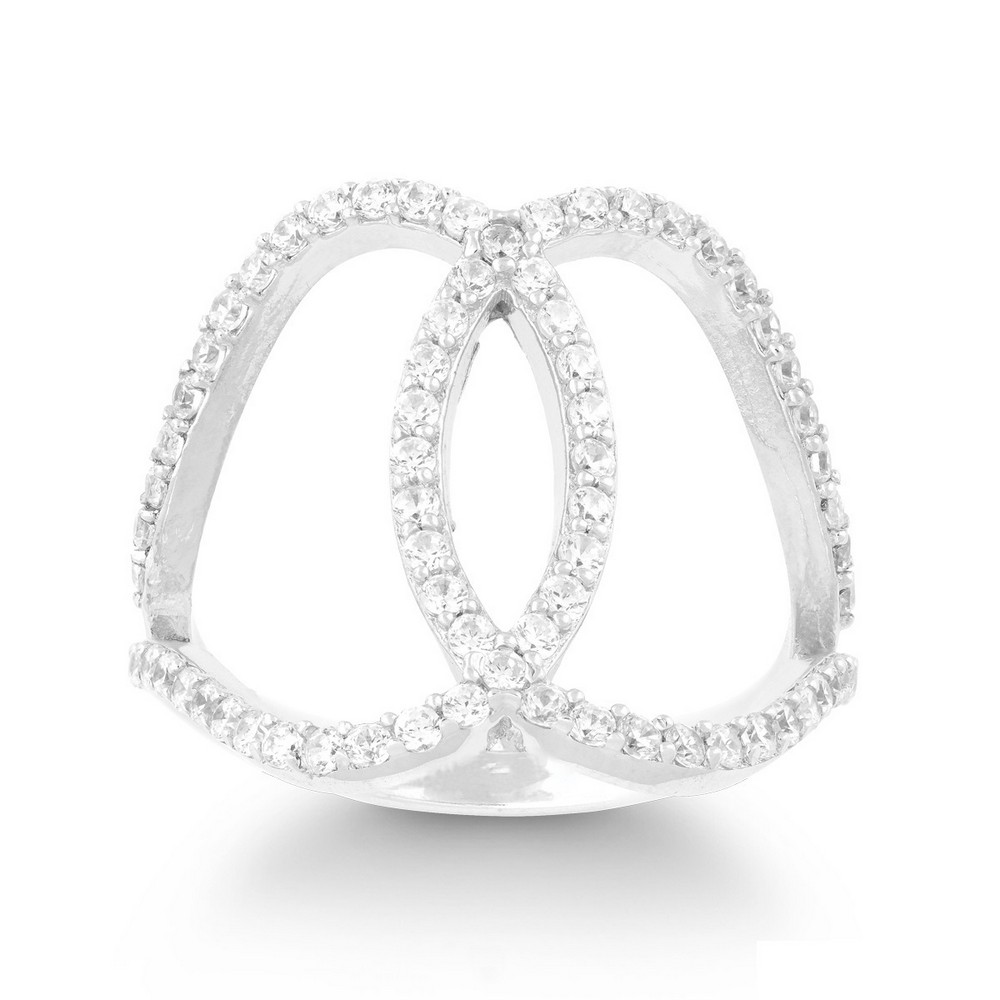 Sterling Silver CZ Double Oval Ring