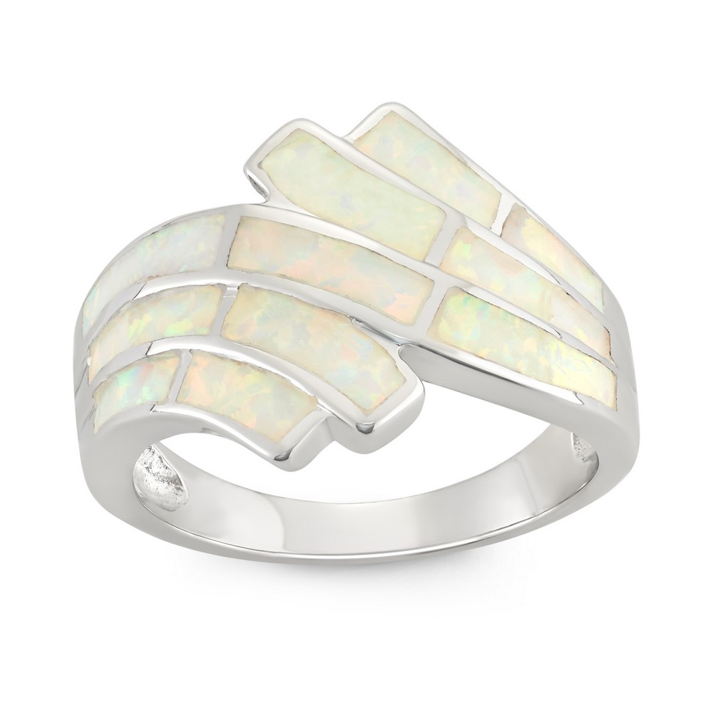 Sterling Silver White Inlay Opal Ring