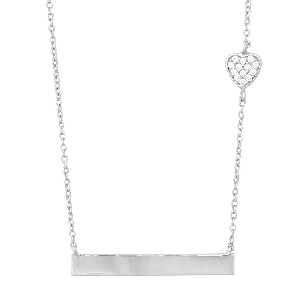 Sterling Silver Small CZ Heart with Flat Plate Necklace