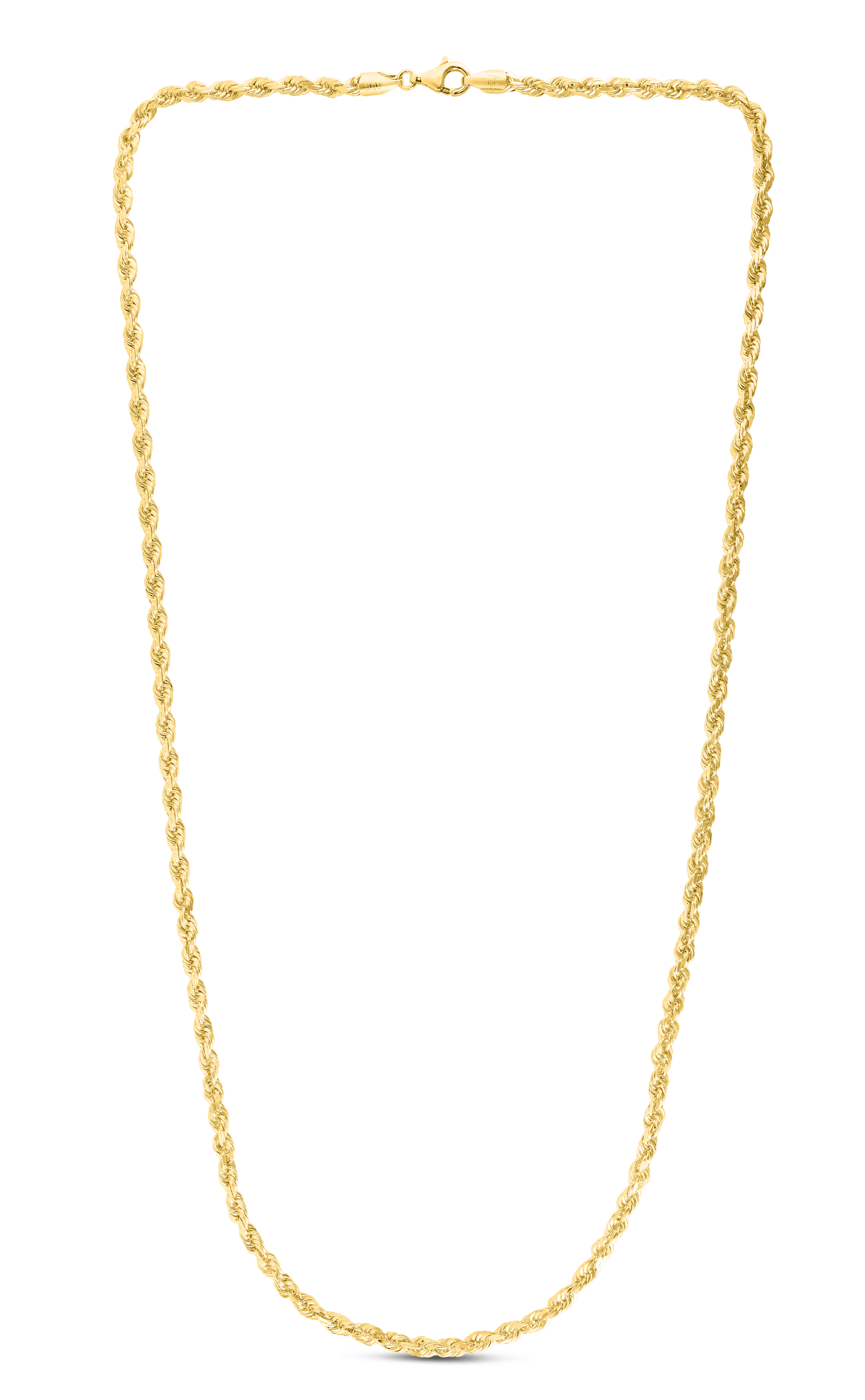 10K 30 inches Yellow Gold 4.0mm Shiny Solid Diamond Cut Royal Rope Chain with Lobster Clasp