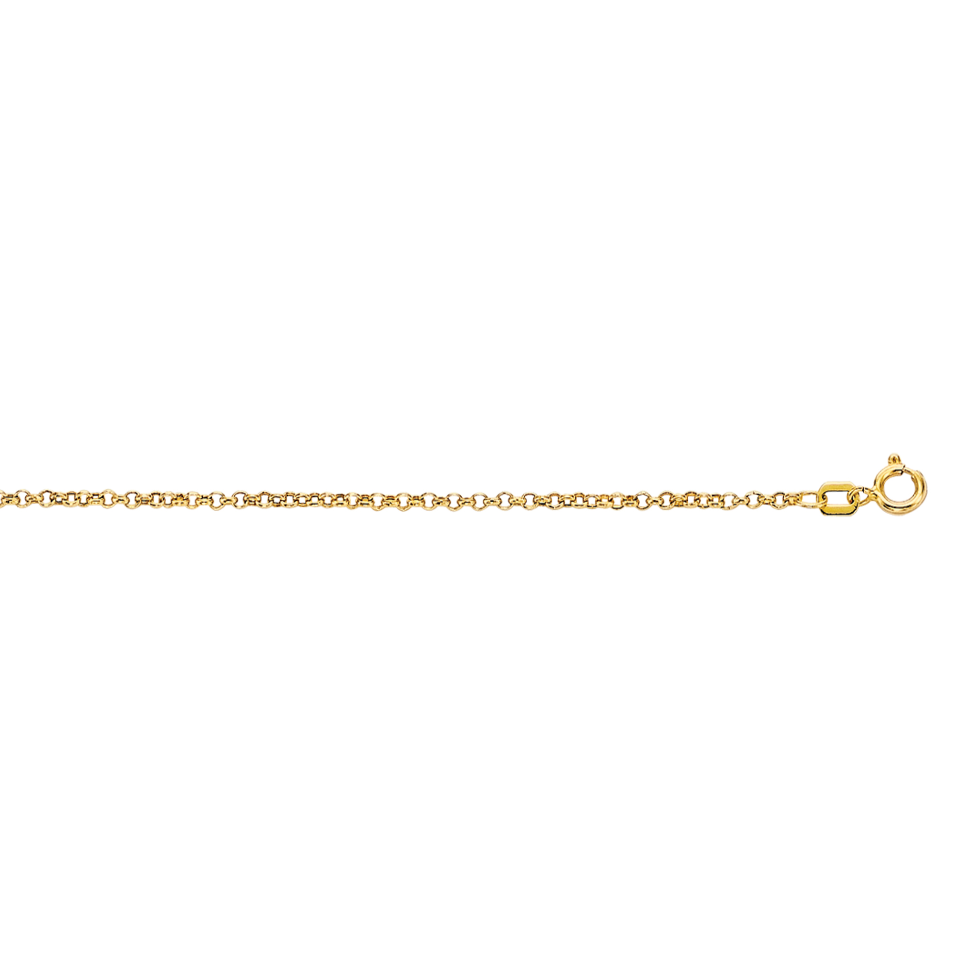 10K 20 inches Yellow Gold 1.90mm Diamond Cut Rolo Chain with Spring Ring Clasp
