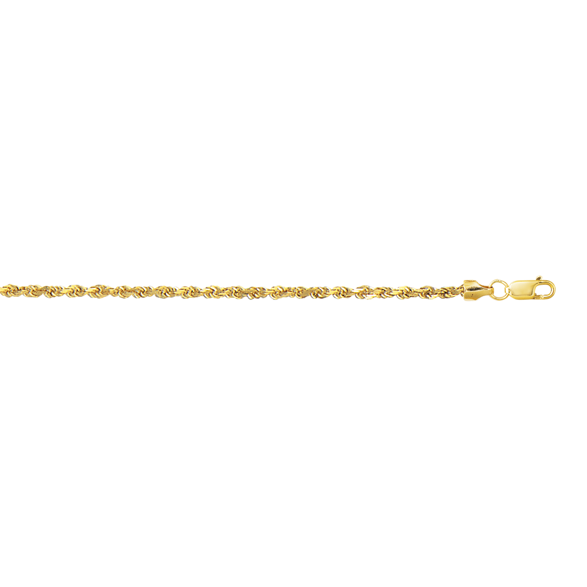 10K 24 inches Yellow Gold 2.5mm Diamond Cut Hollow Sparkle Rope Chain with Lobster Clasp
