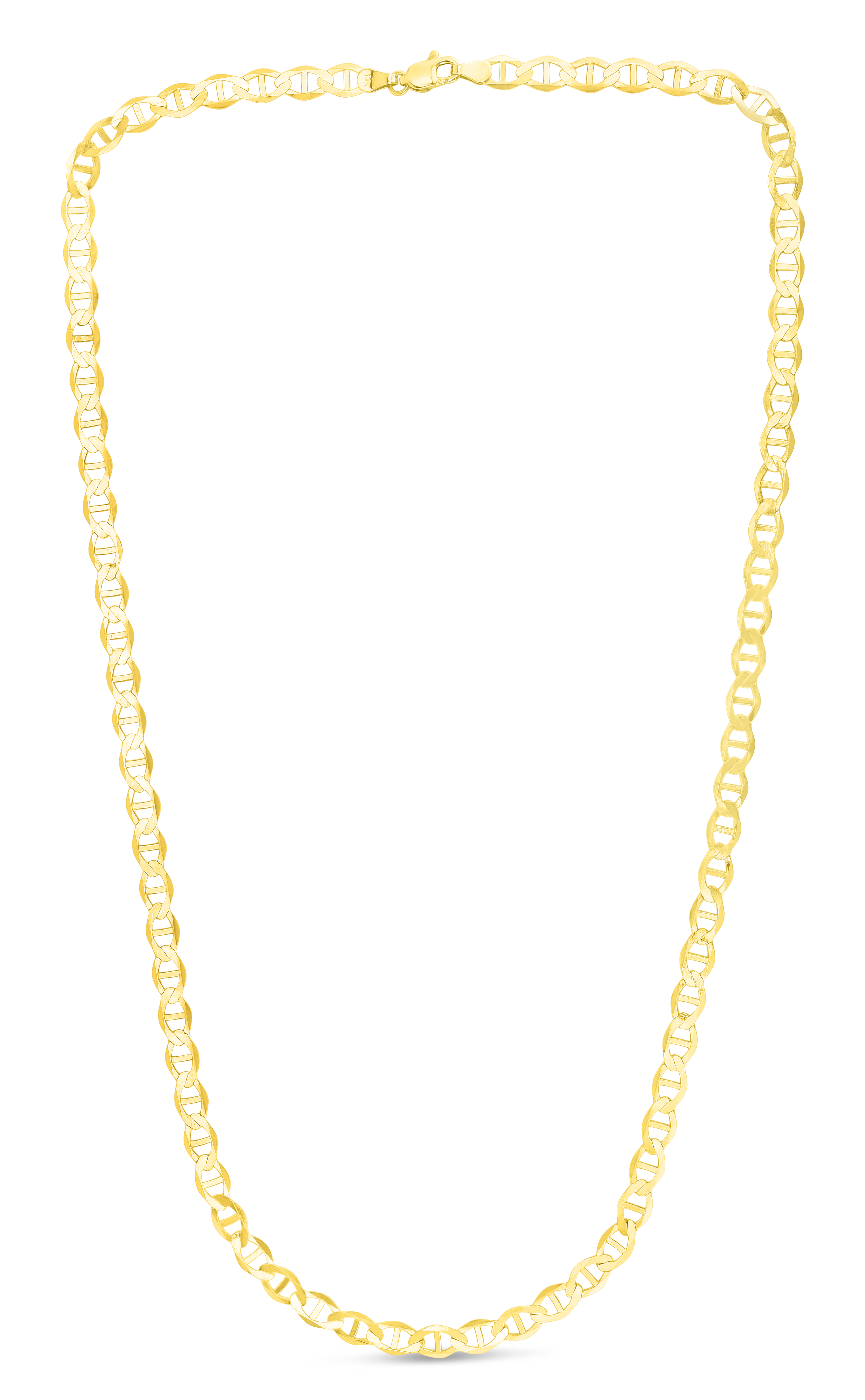 10K 30 inches Yellow Gold 5.50mm Diamond Cut Mariner Link Chain with Lobster Clasp