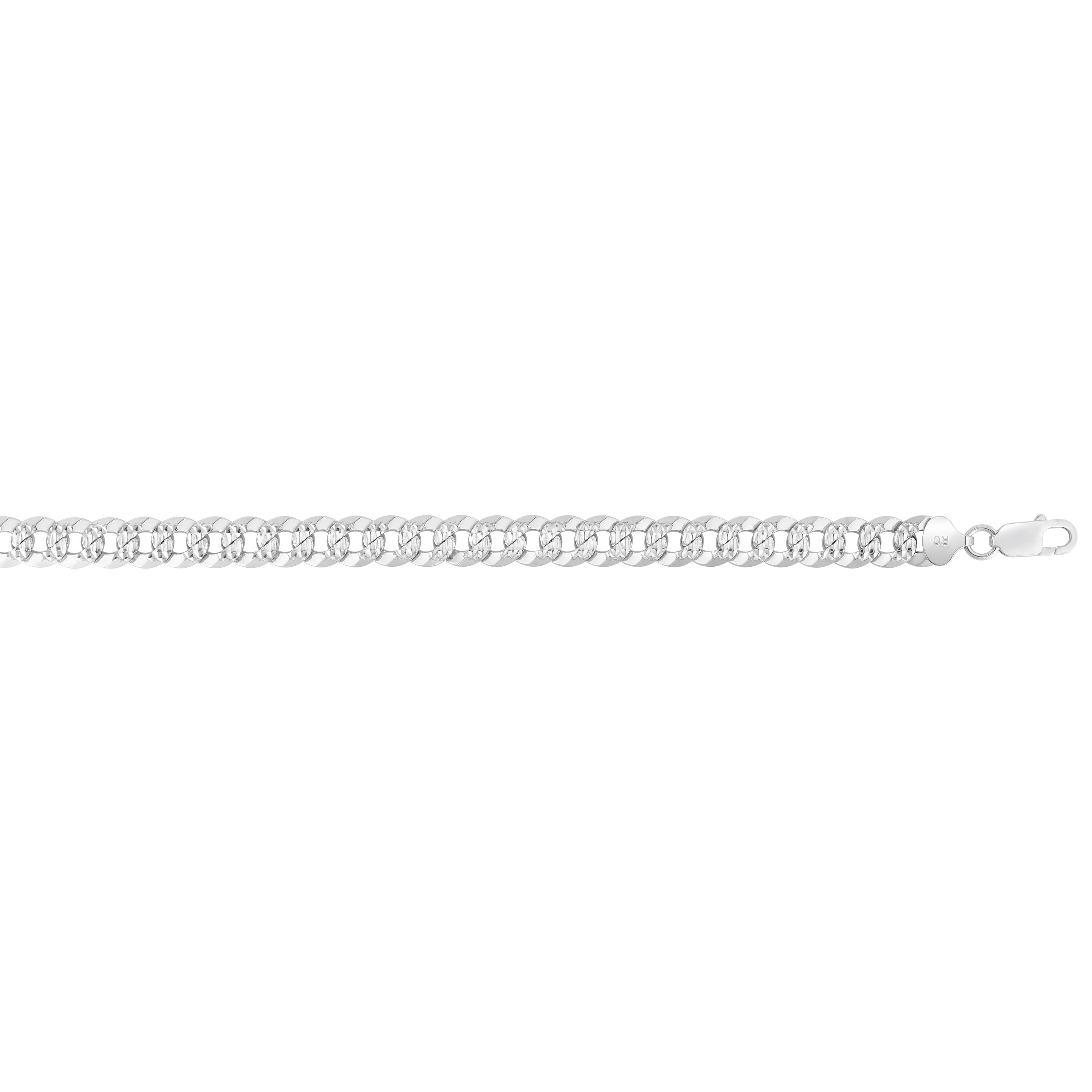 Silver 26 inches with Rhodium Finish 8.4mm Polished Comfort Pave Curb Chain with Lobster Clasp
