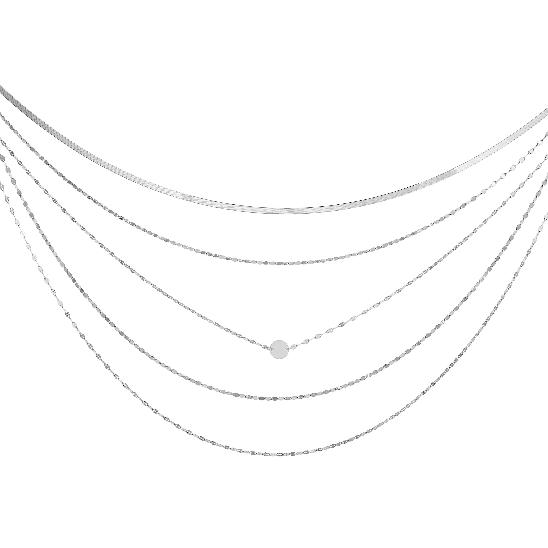 Silver Mirror & Herringbone Chain Layered Necklace