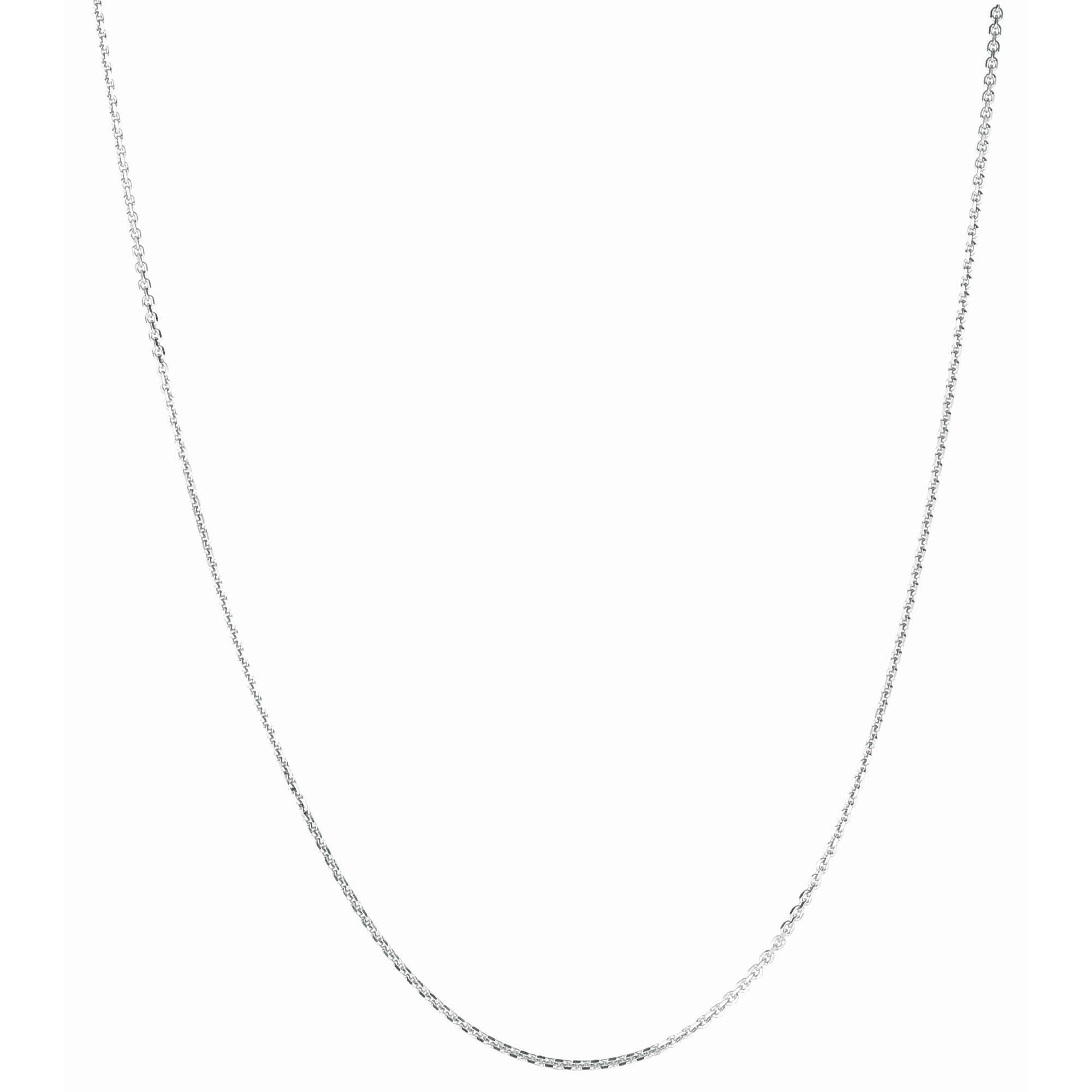 Silver 24 inches with Rhodium Finish 1.4mm Diamond Cut Cable Chain with Lobster Clasp