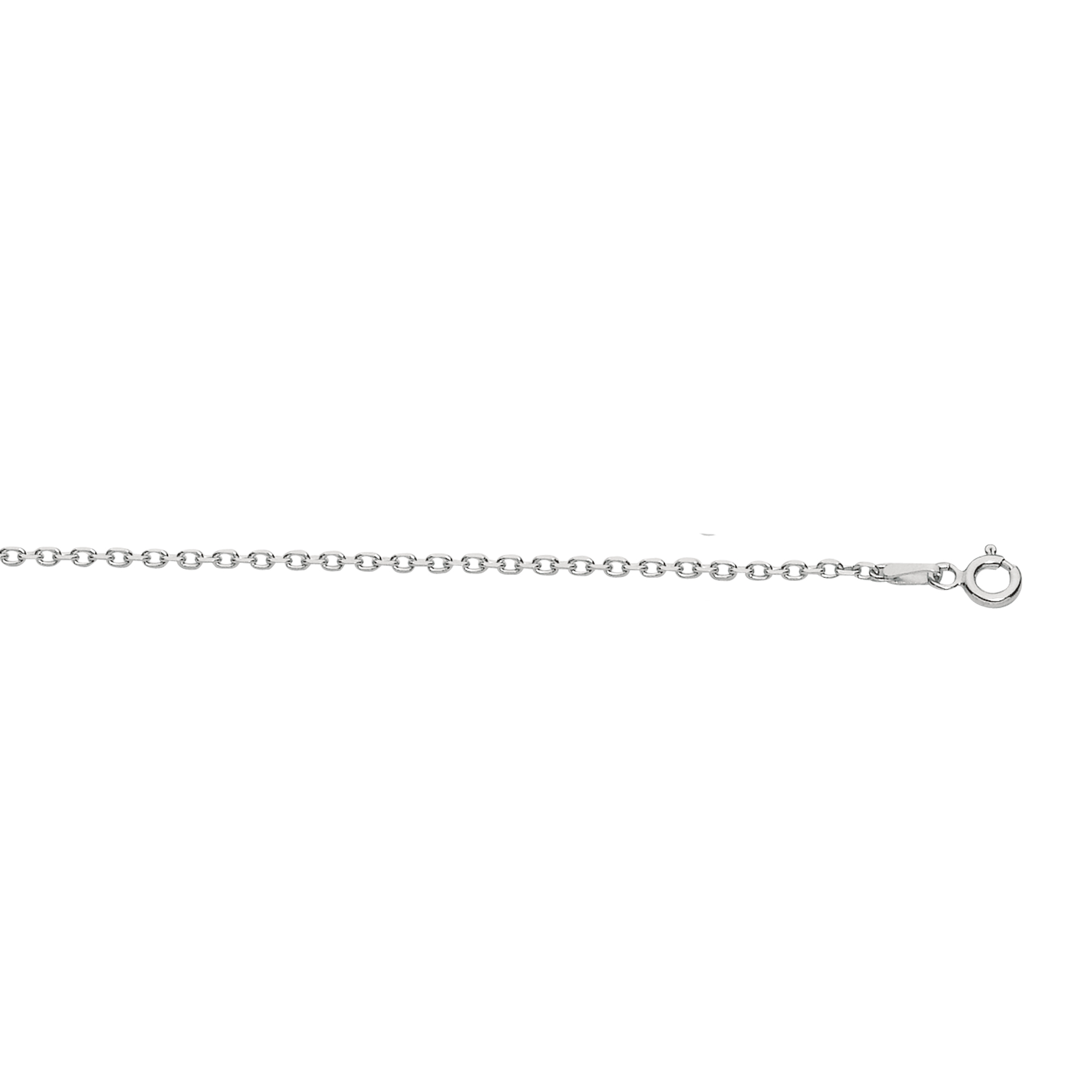Silver 30 inches with Rhodium Finish 0.6mm Classic Box Chain with Spring Ring Clasp