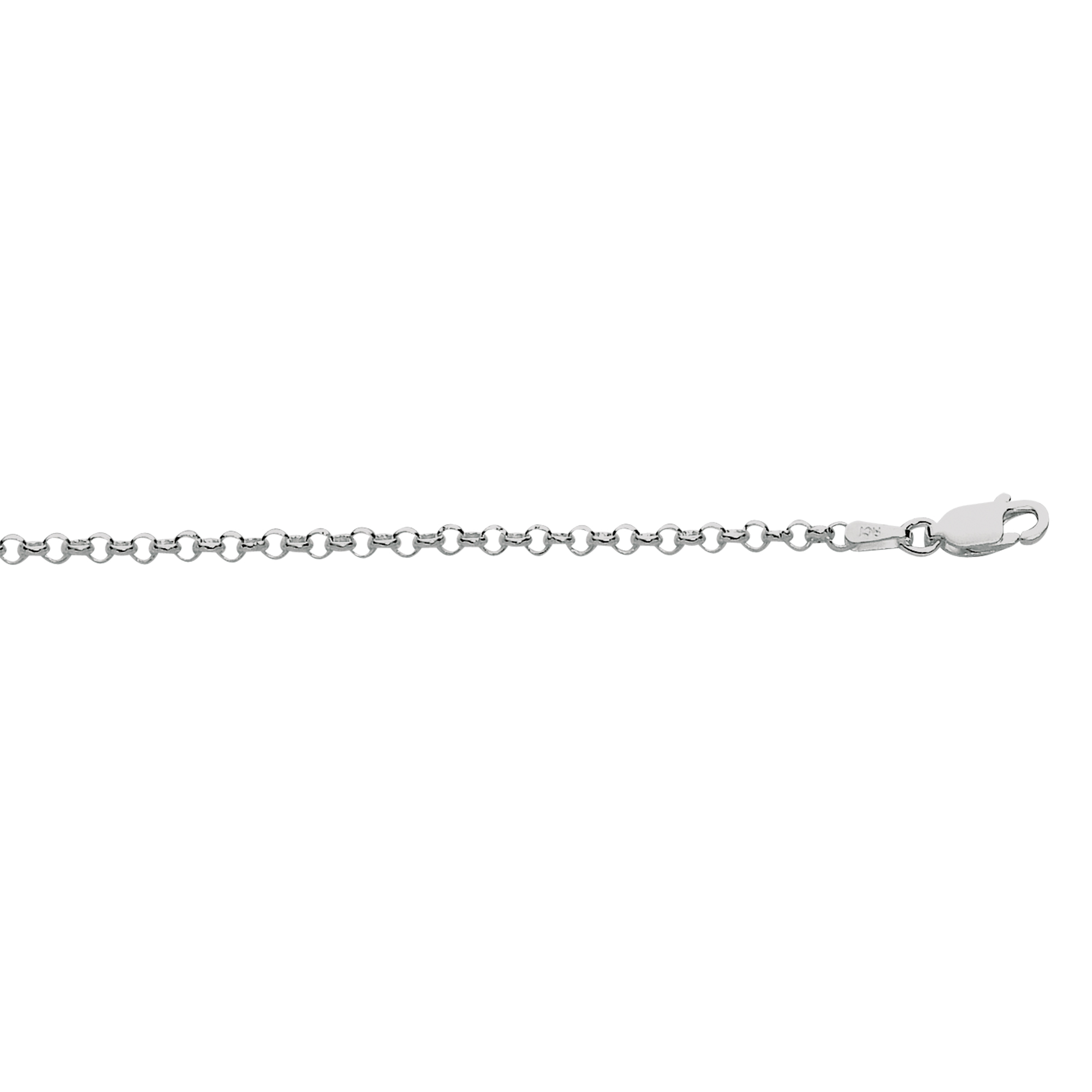 Silver 24 inches with Rhodium Finish 2.4mm Textured Diamond Cut Rolo Chain with Lobster Clasp