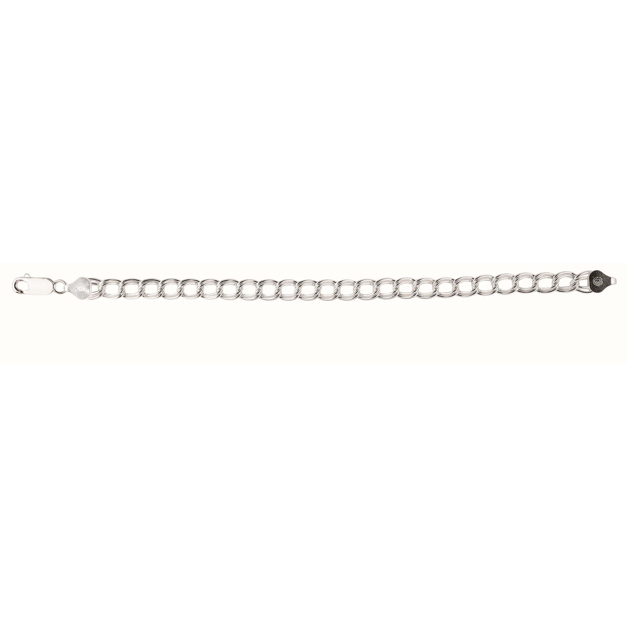 Silver 8 inches with Rhodium Finish 6.6mm Shiny Double Link Chain Bracelet with Lobster Clasp