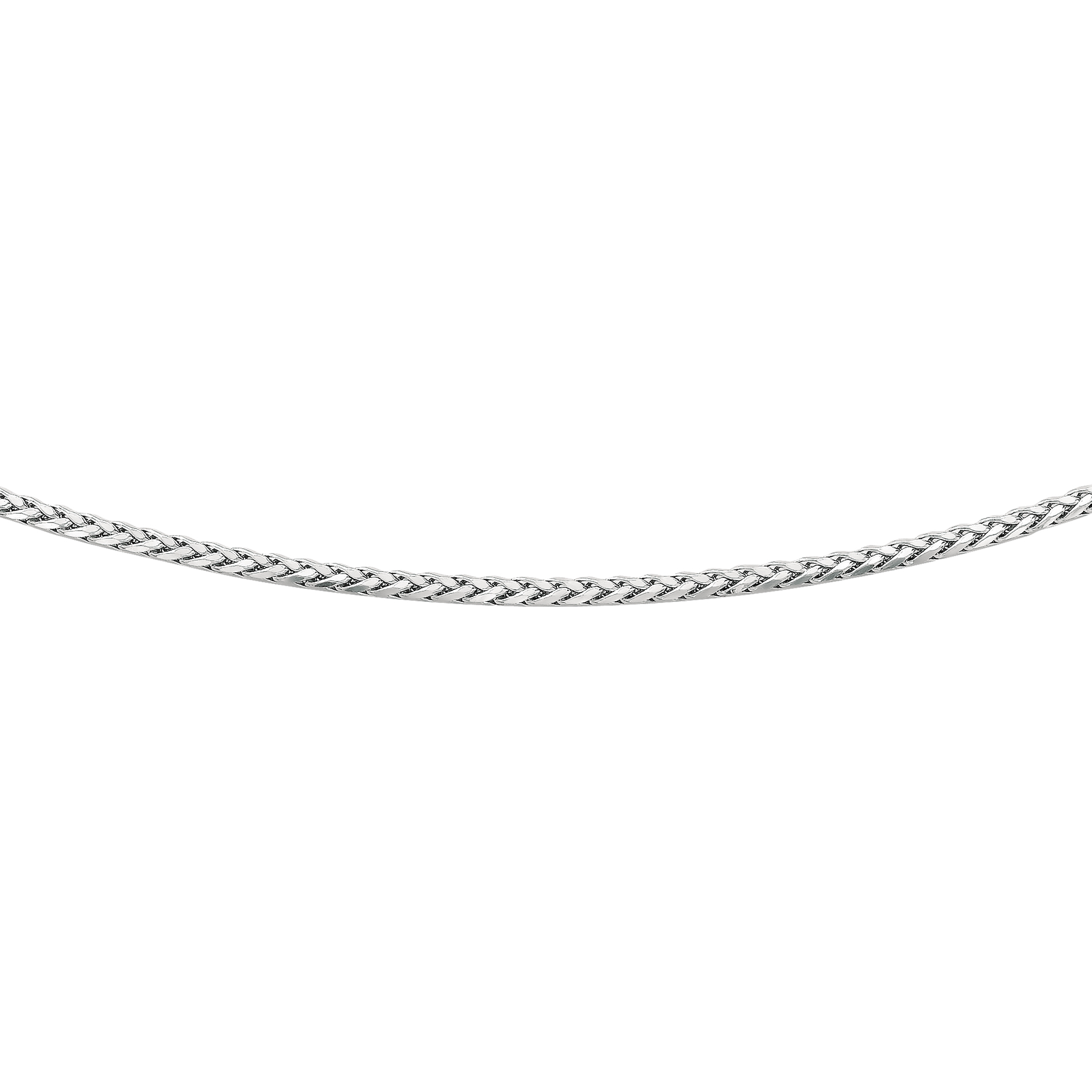 Silver 24 inches with Rhodium Finish 3.10mm Diamond Cut Round Wheat Men's Chain with Pear Shape Clasp