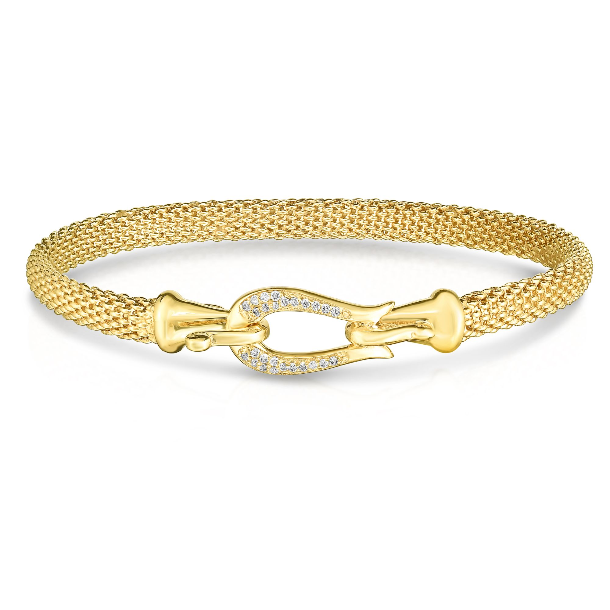 14kt Gold 7.25 inches Yellow Finish 5mm Textured Dome Panther Bangle with Hook Clasp with 0.1300ct 1mm White Diamond