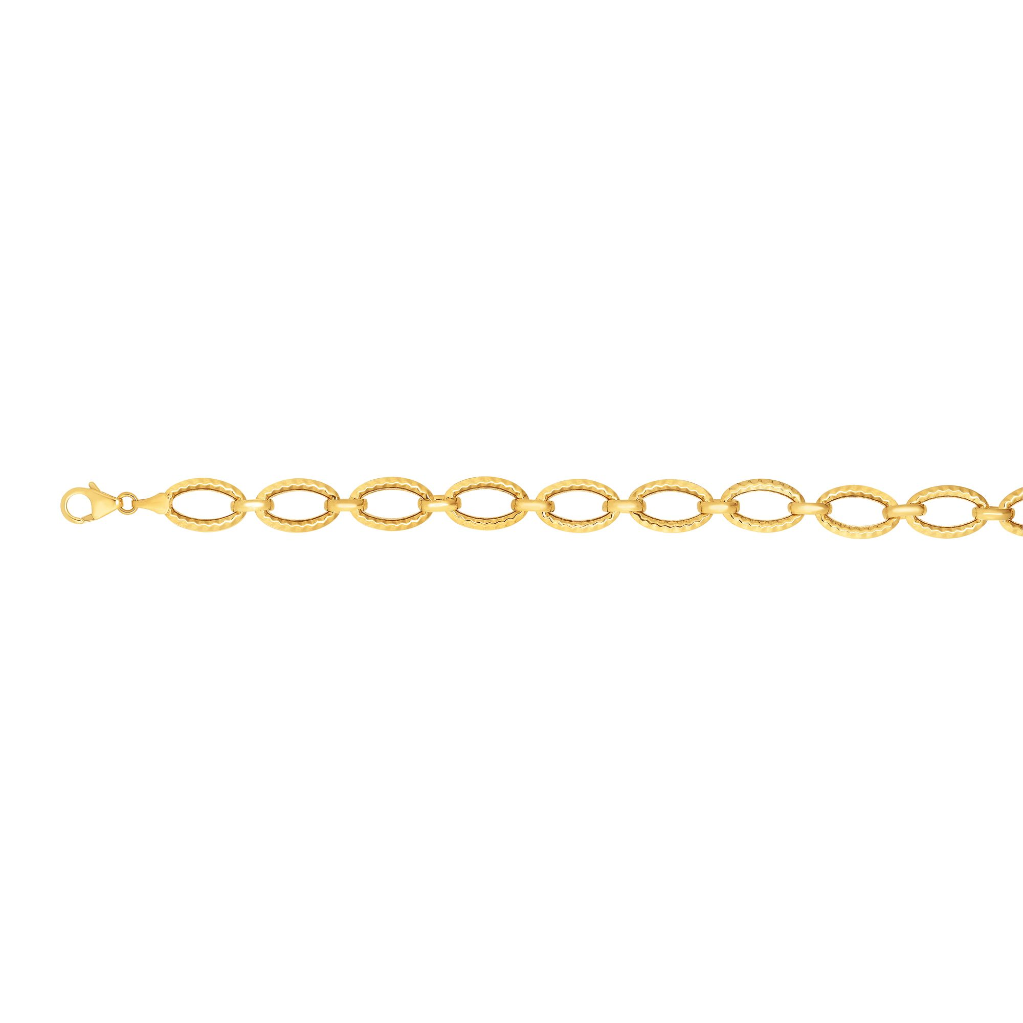 14kt Gold 7.25 inches Yellow Finish 8.6mm Shiny+Diamond Cut Oval Fancy Bracelet with Lobster Clasp