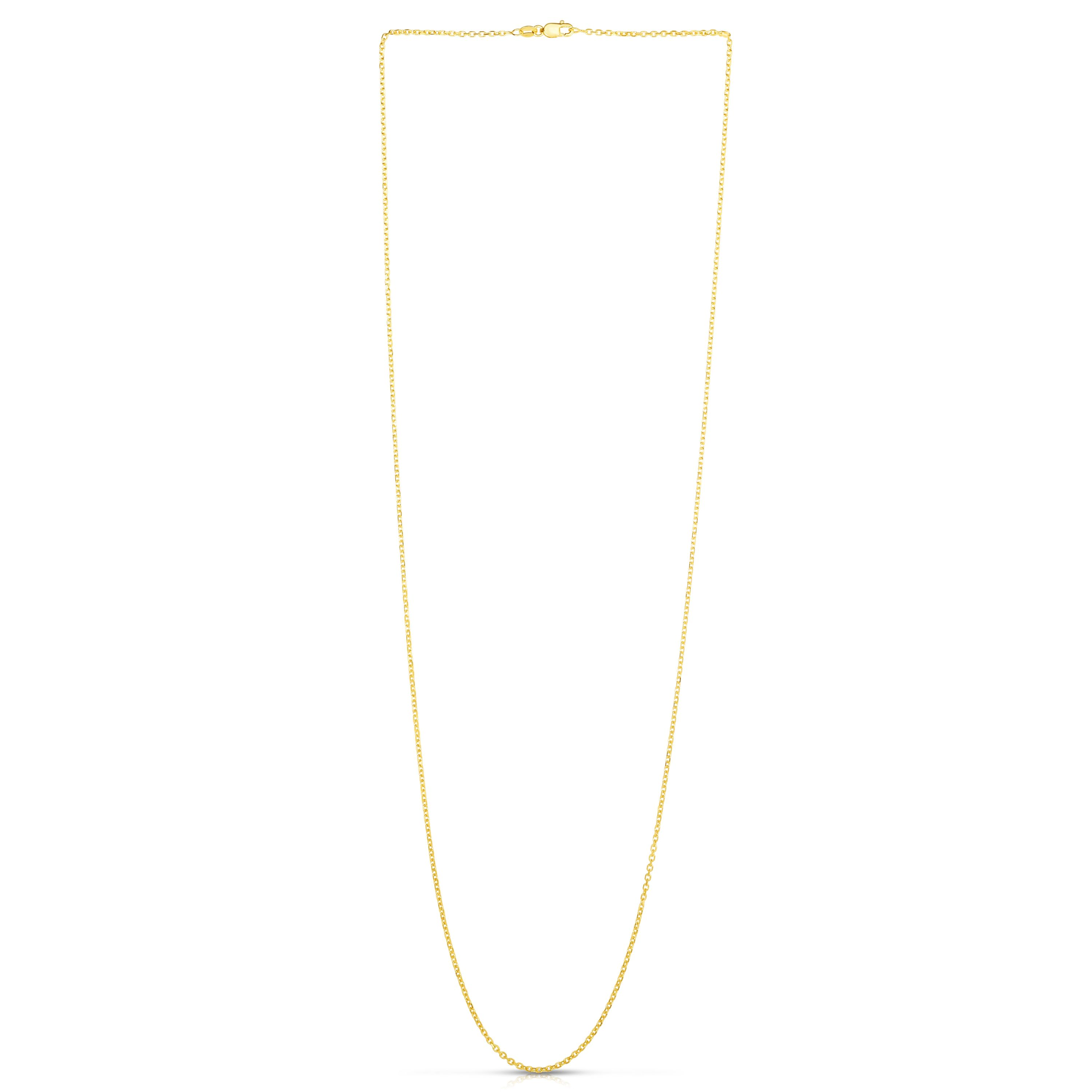 14kt 30 inches Yellow Gold 1.5mm Diamond Cut Cable Link Chain with Lobster Clasp