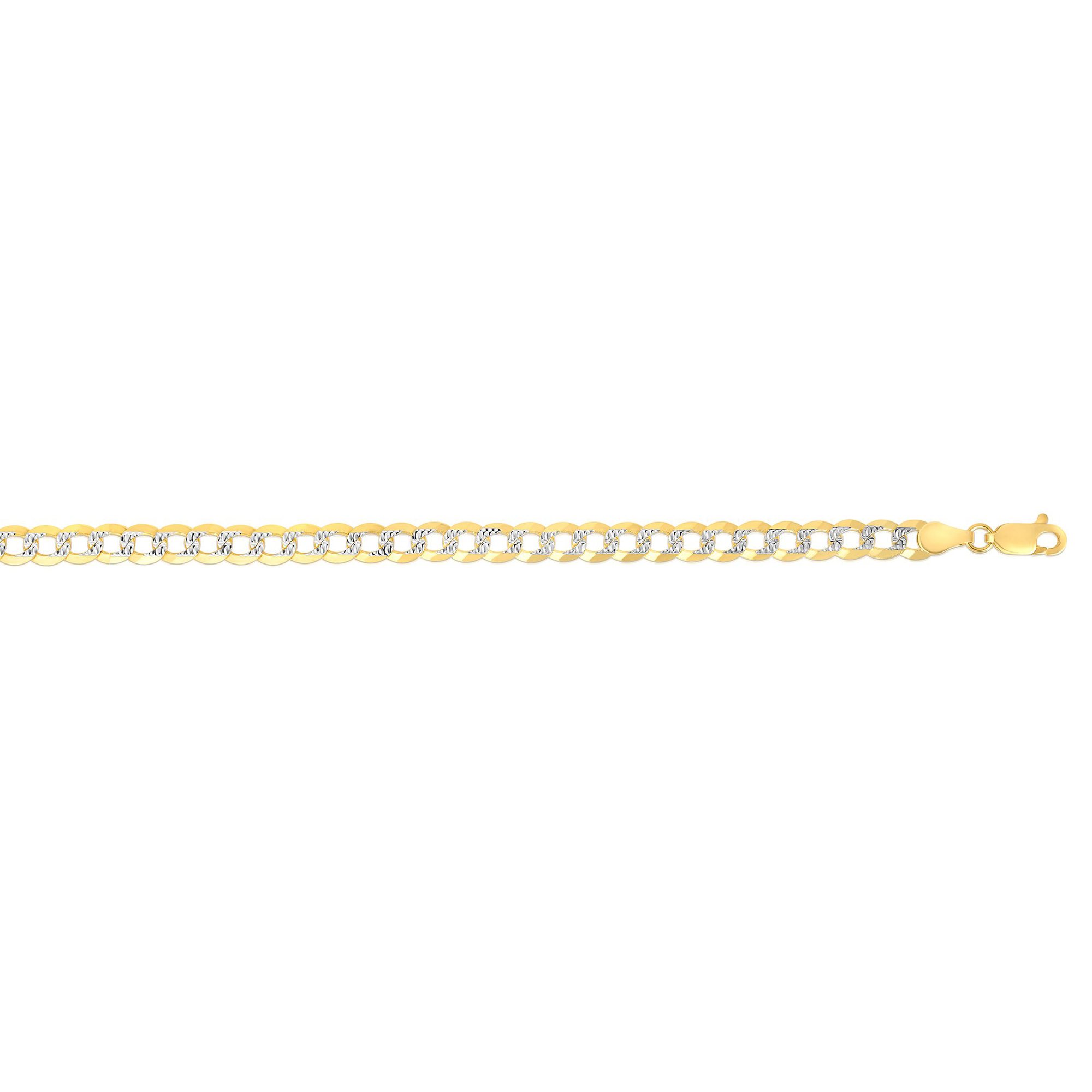 14kt Gold 20 inches  Finish 4.6mm Diamond Cut Comfort Pave Curb Chain with Lobster Clasp