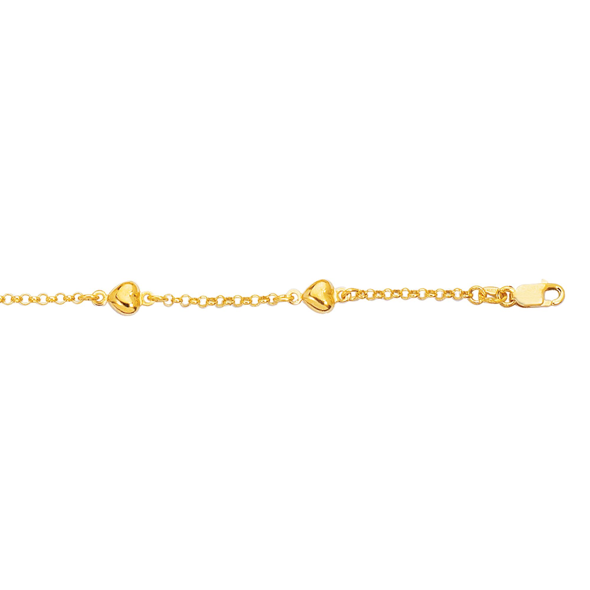 14K Gold Heart Station Bracelet