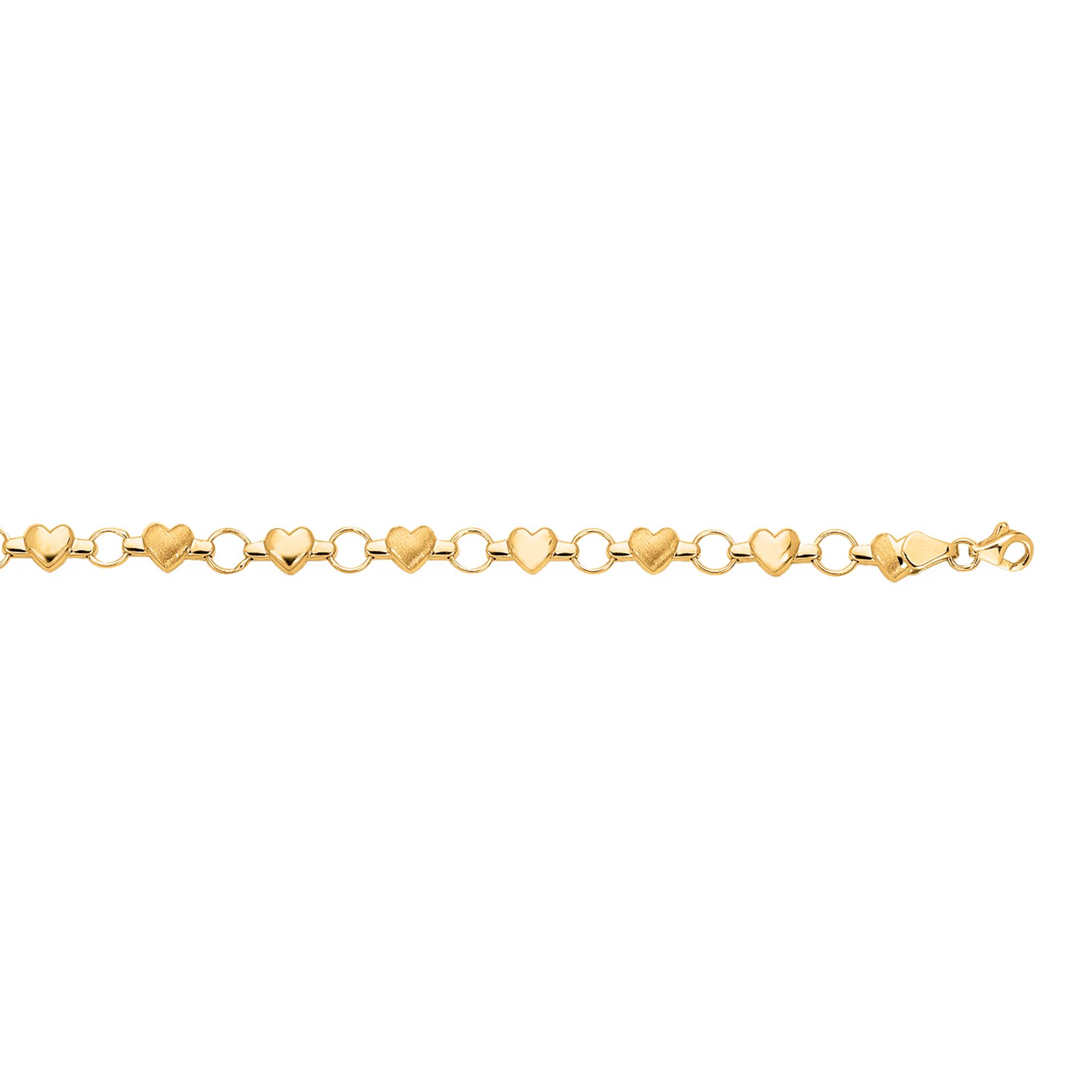 14K Gold Heart & Satin Heart Alternating Bracelet