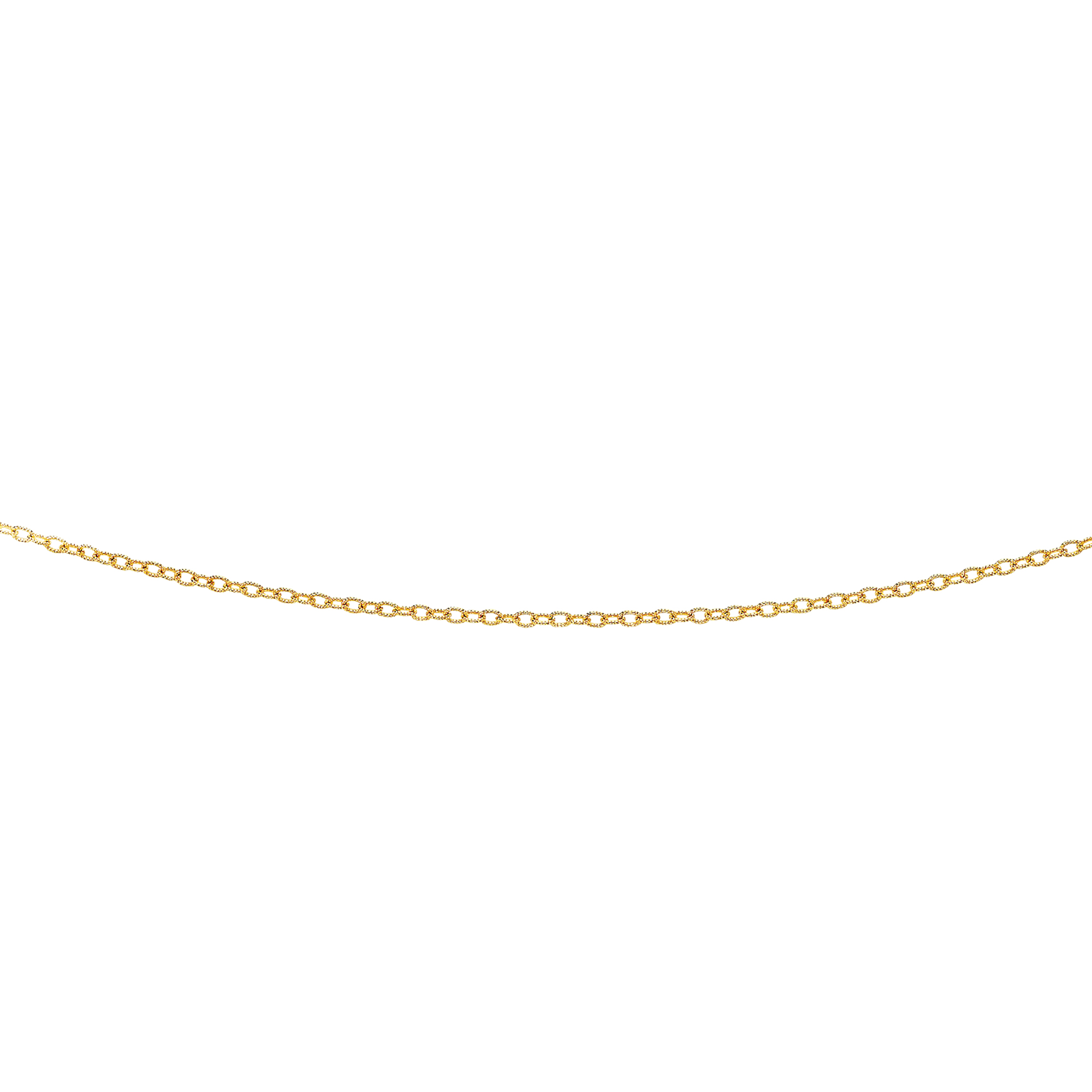 14kt 24 inches Yellow Gold 2.5mm Diamond Cut Oval Texturedd Link Chain with Lobster Clasp