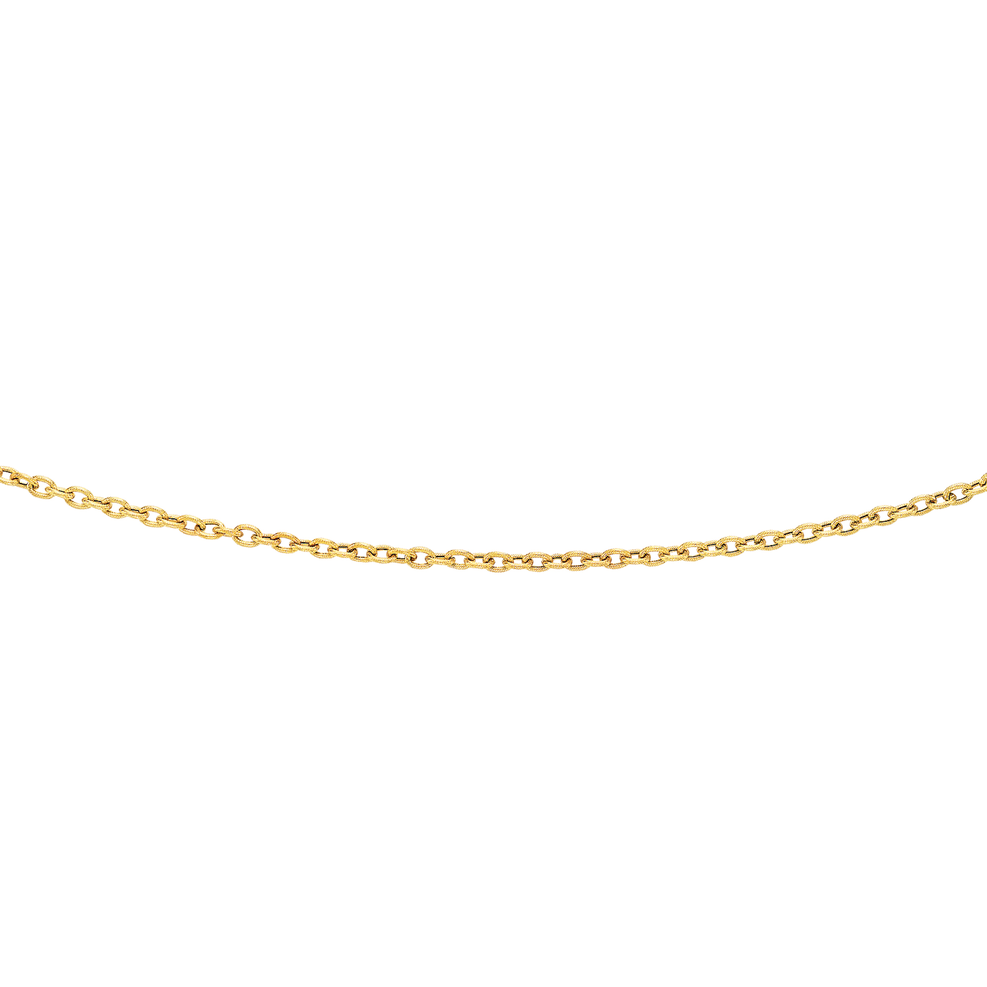 14kt 20 inches Yellow Gold 3.5mm Diamond Cut Oval Texturedd Link Chain with Lobster Clasp