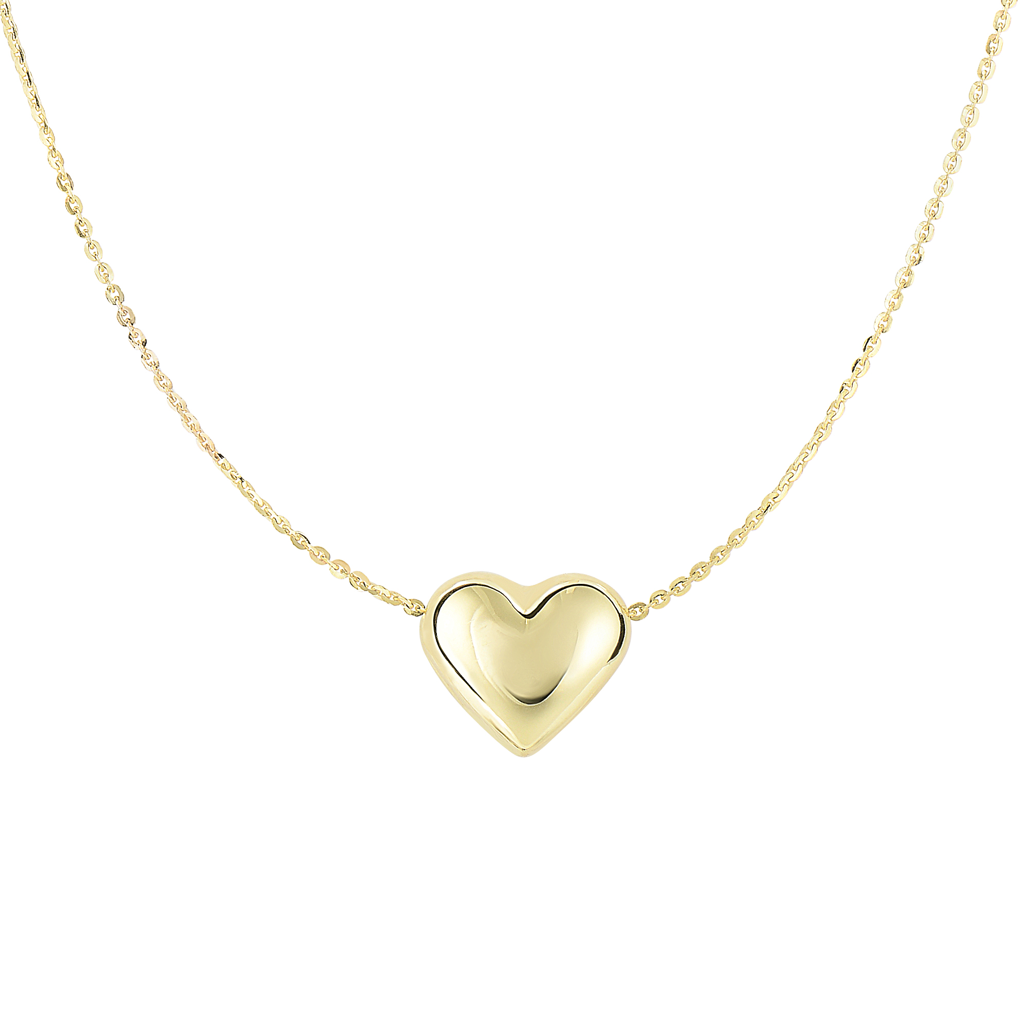 14kt 18 inches Yellow Gold Shiny 9x10.2mm Sliding Puffed Heart On 0.87mm Diamond Cut Cable Chain Necklace with Spring Ring Clasp