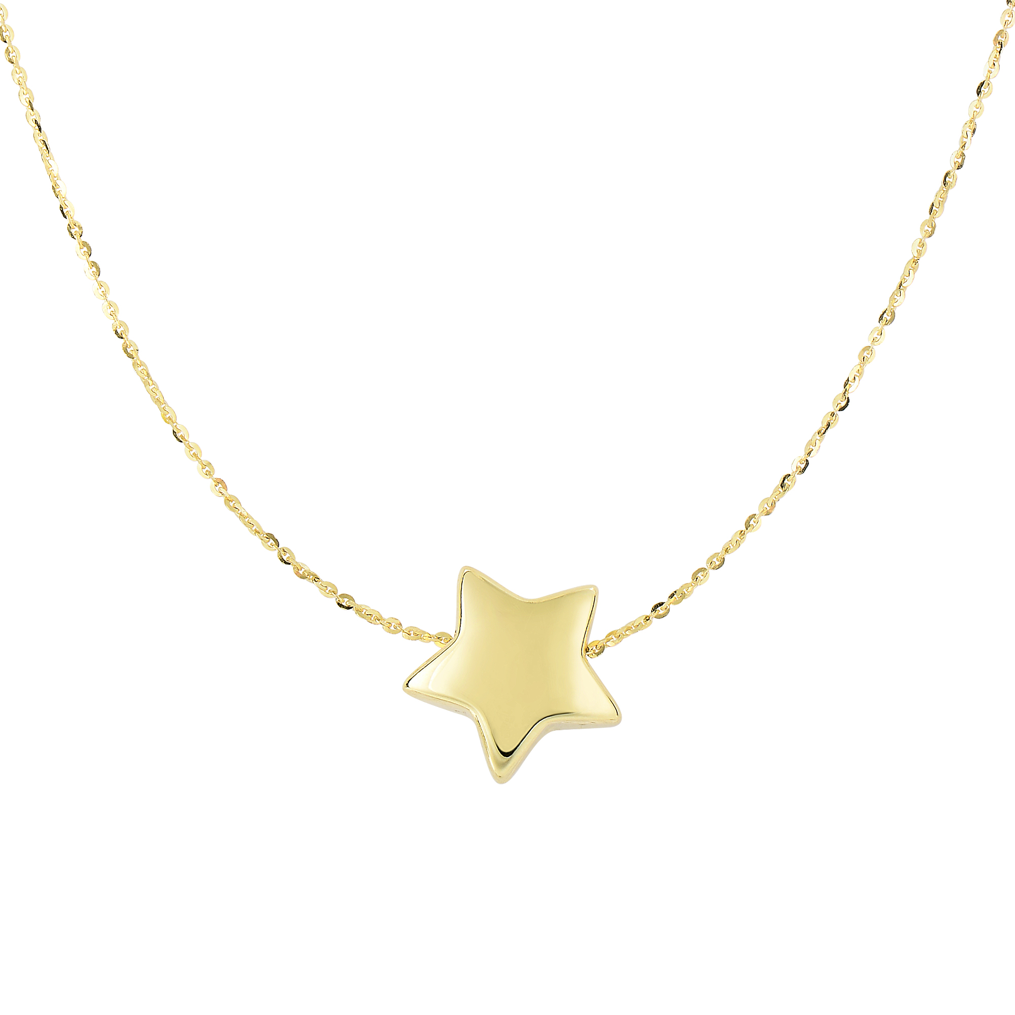 14kt 18 inches Yellow Gold Shiny 11.8mm Sliding Puffed Star On 0.87mm Diamond Cut Cable Chain Necklace with Spring Ring Clasp