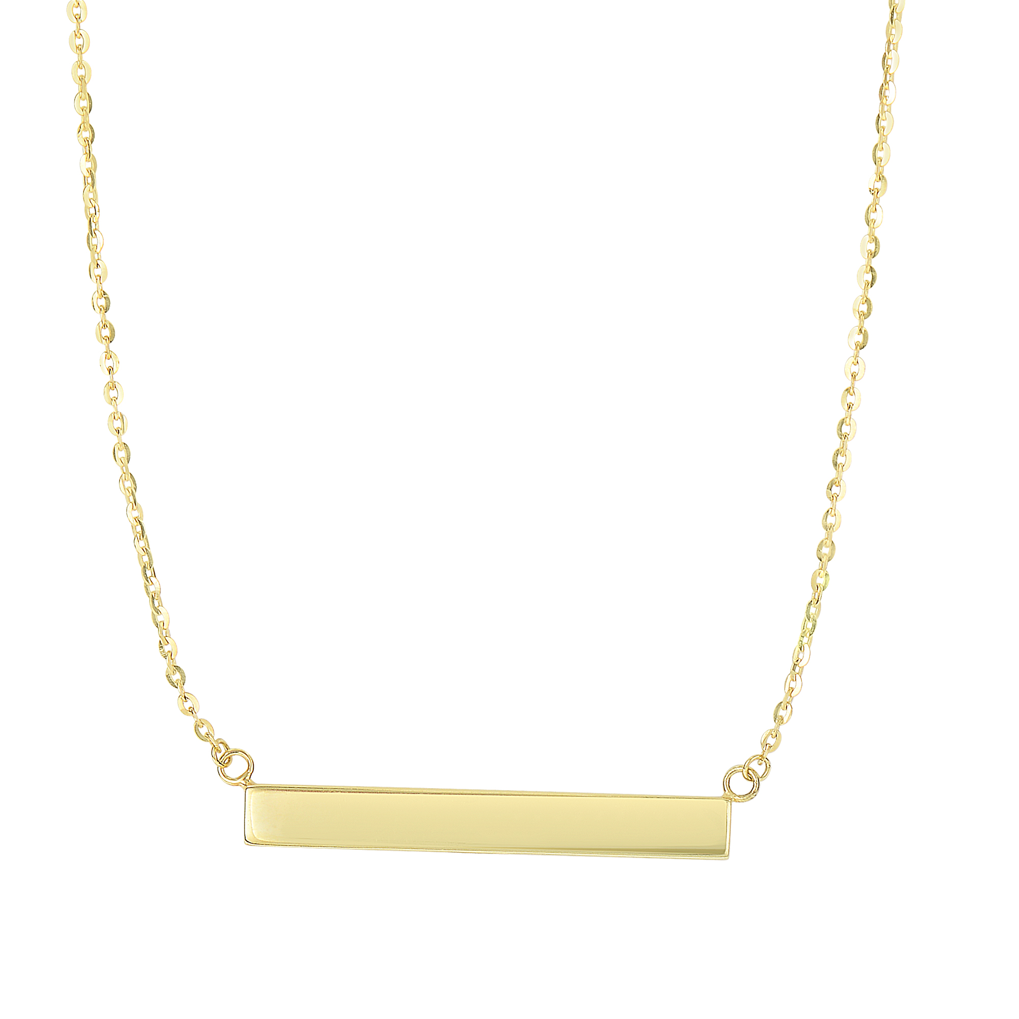 14kt 18 inches Yellow Gold Shiny 4-Station Sideways+1-Hanging 1.7x19.8mm Long Textured Cylinder Shape On 0 .87mm Diamond Cut Cable Chain Type Necklace