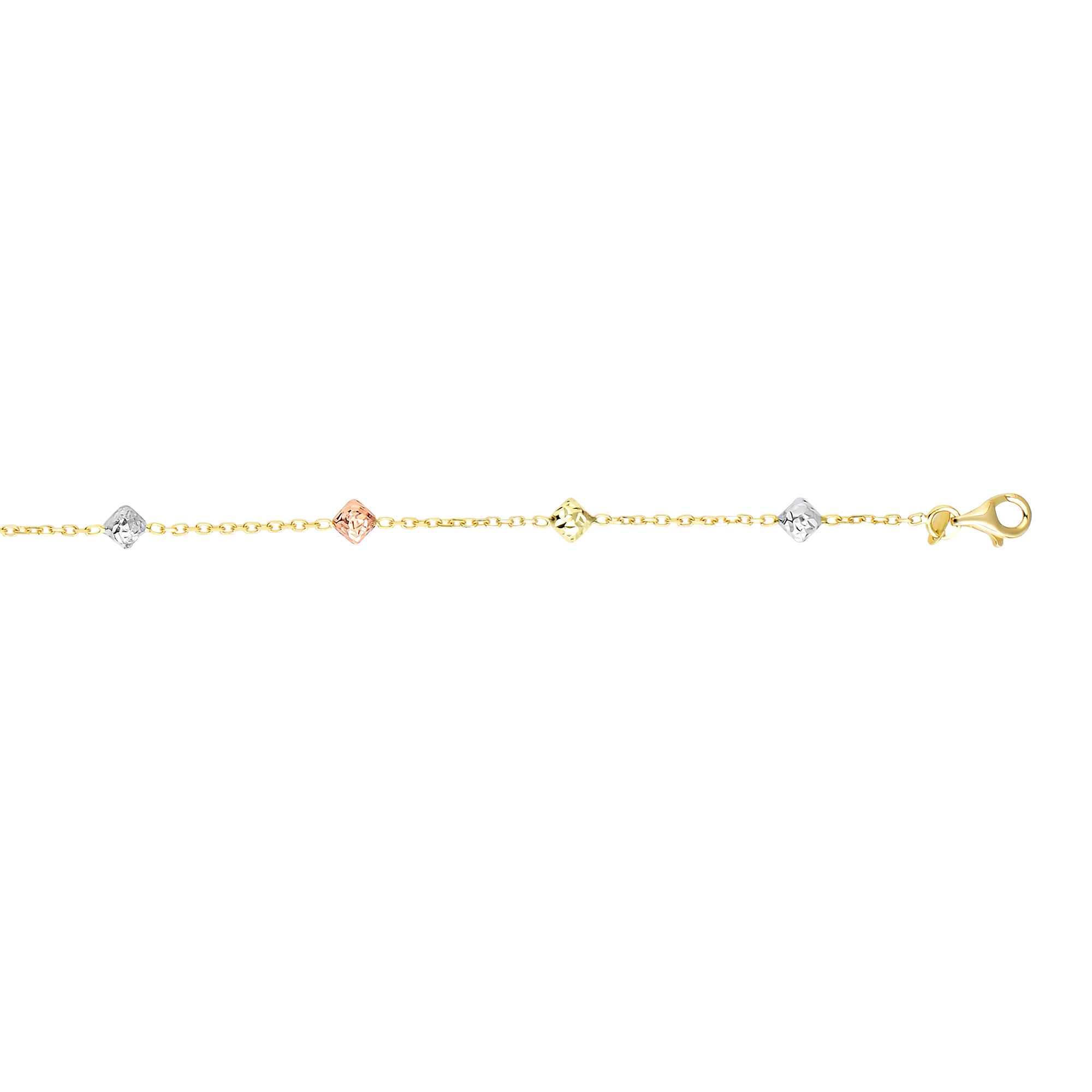 14kt 18 inches Yellow+Rose+White Gold 4.6mm Diamond Cut Diamond Shape Tri-Color Bead On 1.3mm Yellow Ca ble Chain Necklace with Lobster Clasp