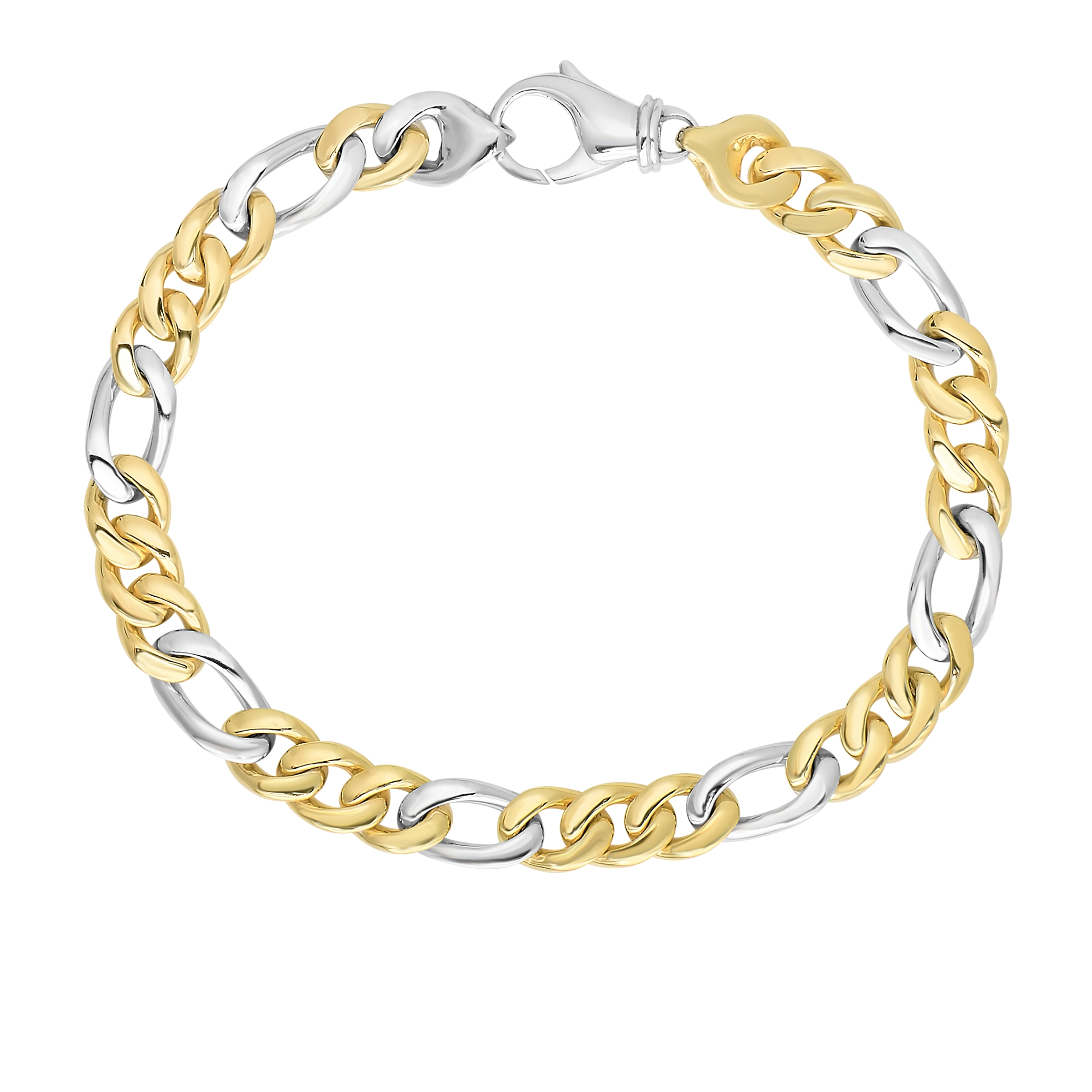 14kt 8.5 inches Yellow+White Gold 6mm Soft Faceted+Shiny Figaro Style Bracelet with Lobster Clasp (Actual sample in Silver )