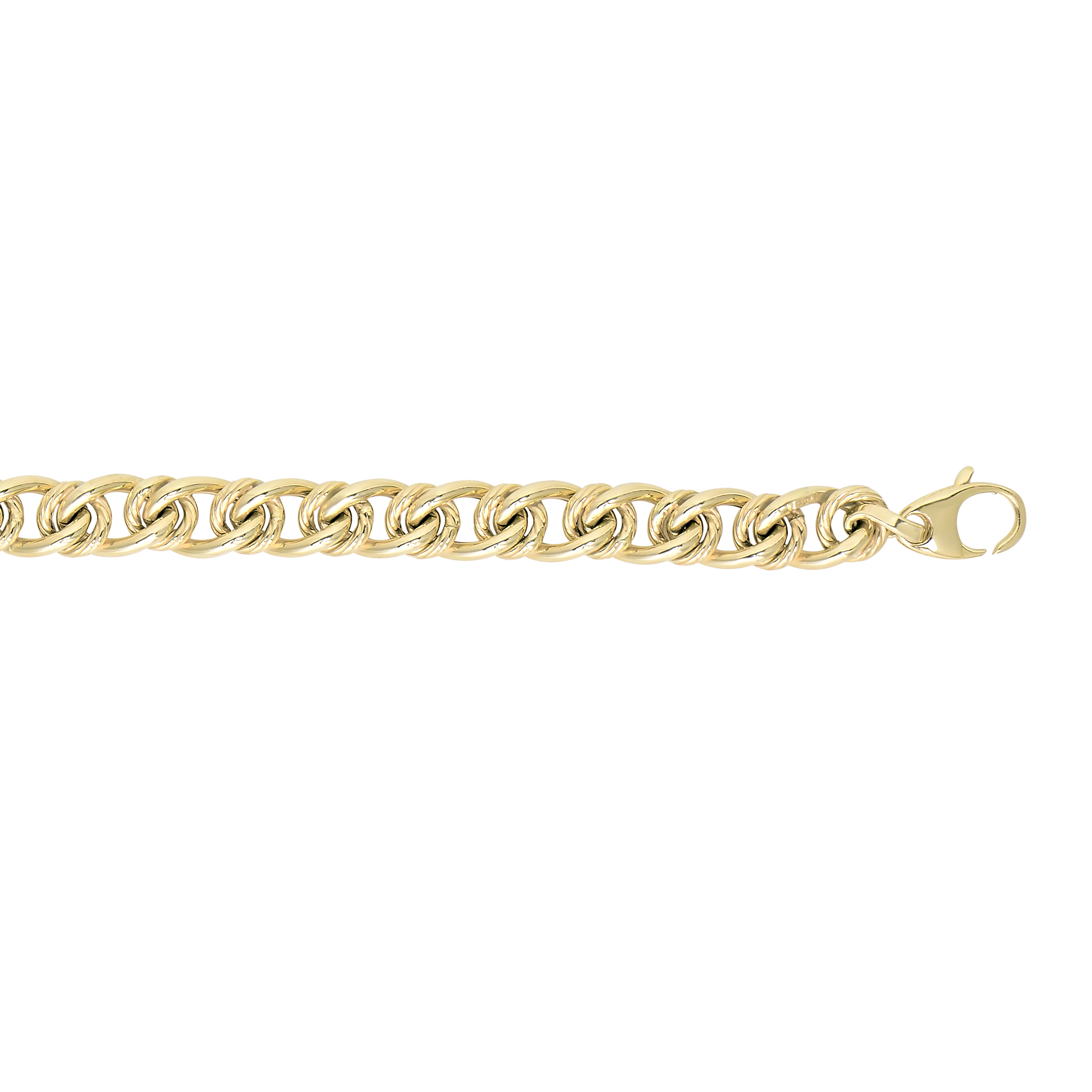 14kt 18 inches Yellow Gold 6mm Shiny+Textured Alt.Large Oval -Small Round Link Fancy Necklace with Lobster Clasp